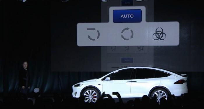Кнопка защиты от биологического оружия на Model X