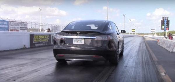 Нарезка видео драг-рейсинга Tesla Model S p85d