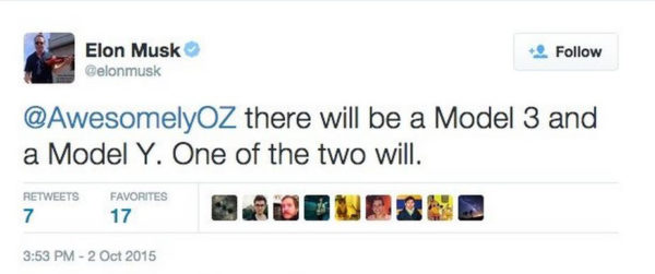 Твитт о Tesla Model Y