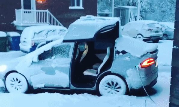 Tesla Model X после снежной бури