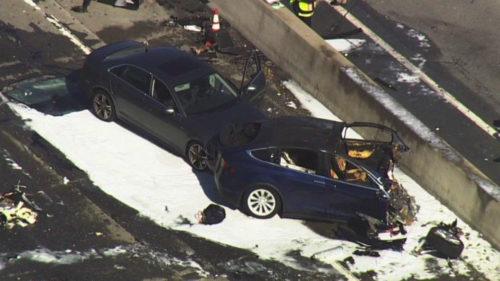 После аварии Tesla X, Источник: Mercury News/Twitter