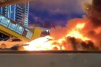 Видео аварии Tesla Model 3, которая произошла 10 августа в Москве